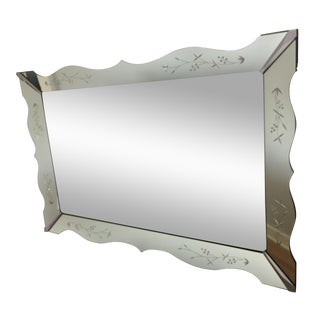 Mid-Century Venetian Floral Etched Mirror