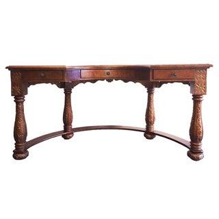 Carved Amboyna Burl Demilune Desk