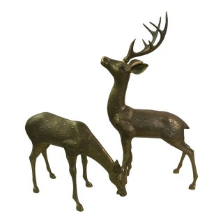 XL Brass Deer - A Pair