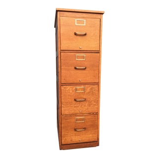 Globe Wernicke Tiger Oak C. 1900s Antique Legal Size 4-Drawer File Cabinet