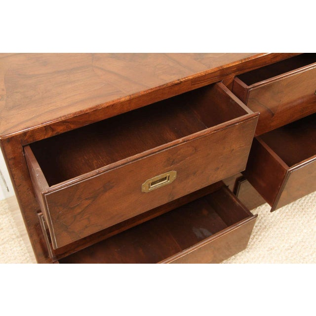 Campaign Style Stained Olive Burlwood Dresser - Image 8 of 8
