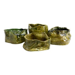 Olive Green Abstract Ceramic Pots