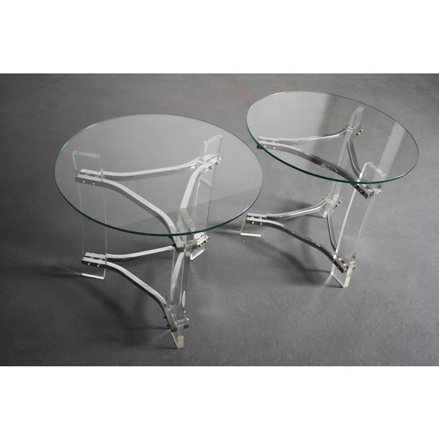 Image of Charles Hollis Jones Lucite End Tables - Pair