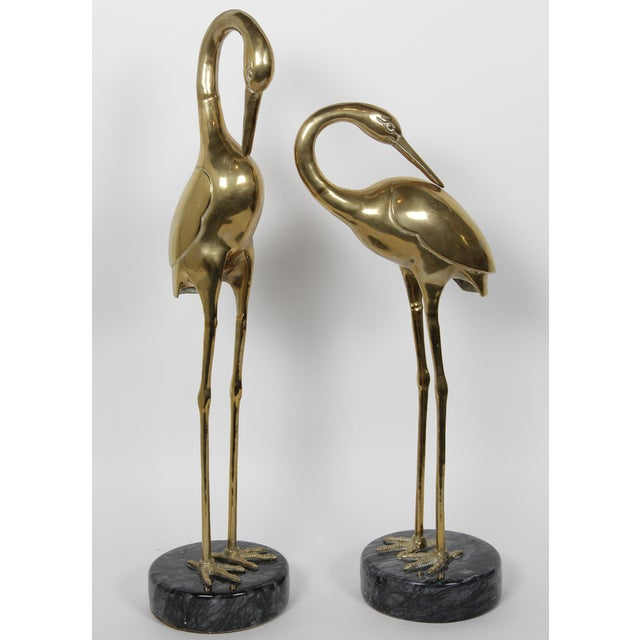 Image of Vintage Brass Cranes on Marble Bases