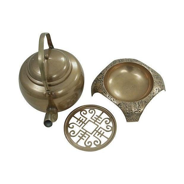 Brass Kettle and Warming Plate - Image 2 of 7