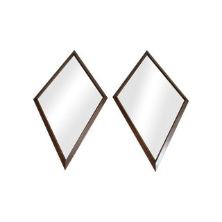 1960s Diamond Walnut Mirrors - A Pair