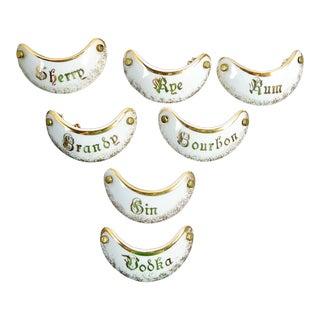 French Porcelain Liquor Labels - Set of 7