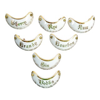 French Porcelain Liquor Labels - Set of 7