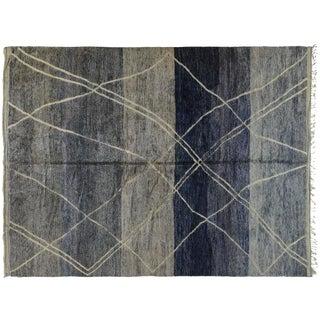 Blue & Gray Moroccan Berber Rug - 10′7″ × 14′2″