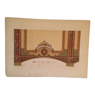 German Architectural Decorative Ceiling ChromoLithograph