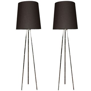 Faux Bamboo Standing Lamps - A Pair