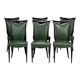 Set of Six Italian Dark Wood Framed Dining Chairs Attributed to Osvaldo Borsani