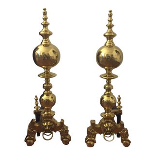 Lion Head Brass Andirons - Pair