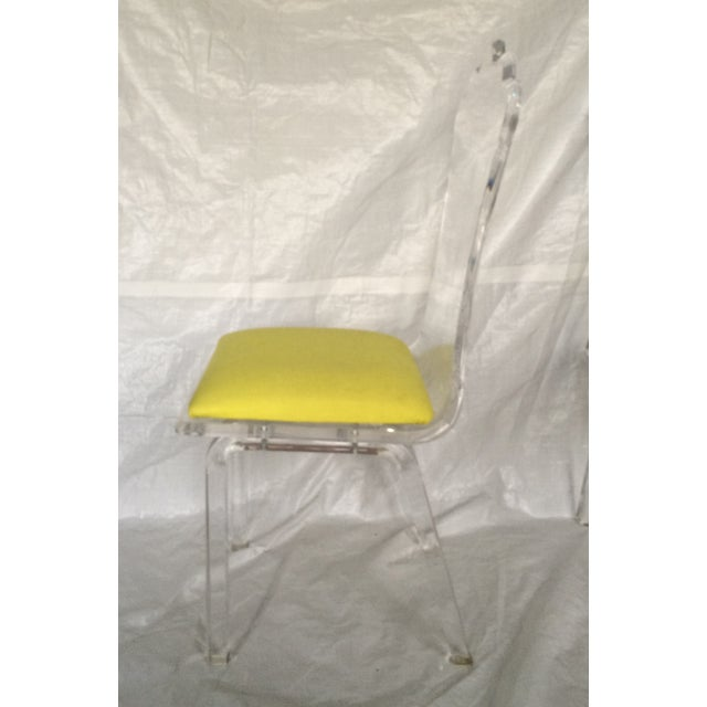 Image of Scalloped Back Lucite Dining Chairs - Set of 4