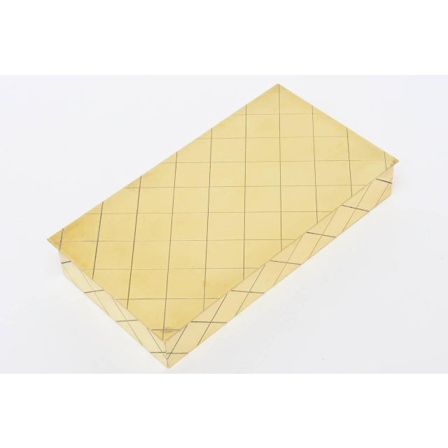 Image of Tommi Parzinger Polished Diamond Criss Cross Brass and Wood Box