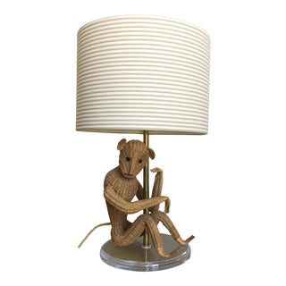 Wicker Monkey Lamp w/Shade