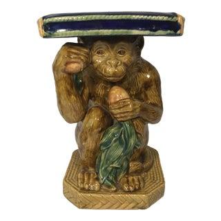 Majolica Monkey Garden Seat