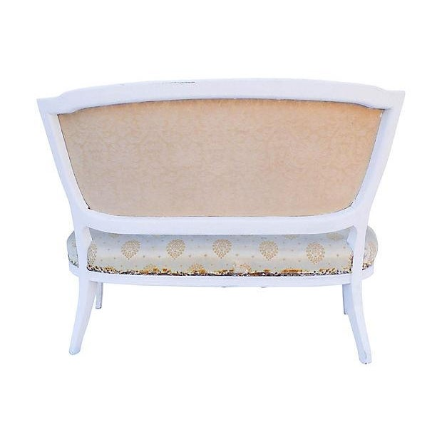 Petite French-Style Love Seat Painted White - Image 2 of 5