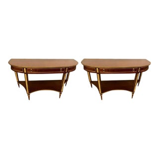 Demilune Mahogany Bronze Mounted Russian Neoclassical Consoles - a Pair