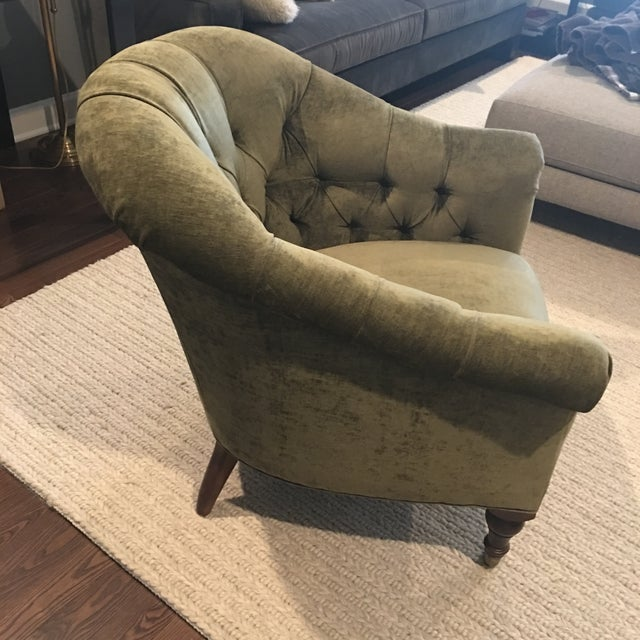 English Velvet Barrel Chair - Image 3 of 3