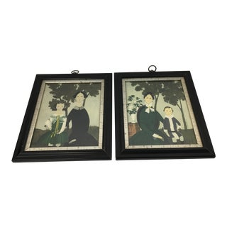 Framed Mother & Child Portraits - A Pair