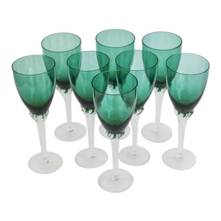 Vintage Green Crystal Wine Glasses Imported From Croatia- Set of 8