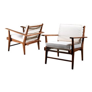 Pair of Italian 1950s Rope Chairs in Solid Teak with new white canvas upholstery