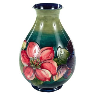 Moorcroft Green & Red Flowers Pottery Art Vase