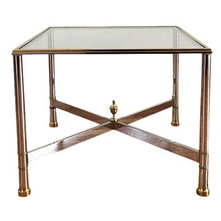 La Barge Brass Chrome & Glass Side Table