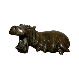 Verdite Stone Shona Hippo Sculpture