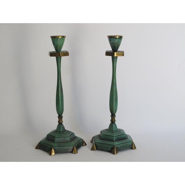 Image of Verdigris Candlesticks - Pair