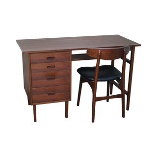 Mid-Century Teak Writing Desk With Chair