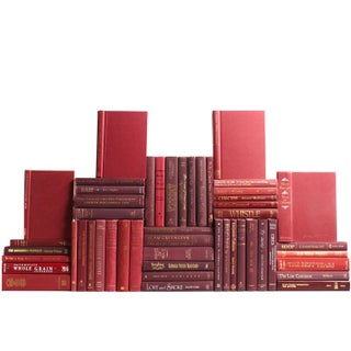 Modern Burgundy Book Wall - Set of 50