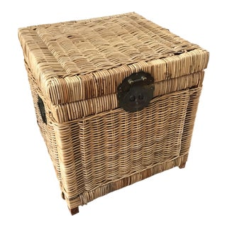 Vintage Boho Chic Wicker Storage Chest