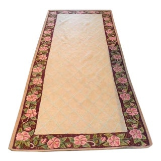 American Hand-Hooked Floral Border Runner Rug from New England