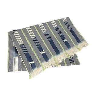 African Indigo Baule Shobori Mud Cloth Throw
