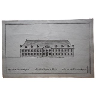 Antique Engraving Facade & Floorplan Lg. Folio