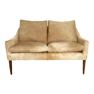 Forsyth One of a Kind Danish Loveseat in Brazilian Cowhide