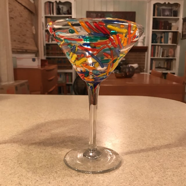 Confetti Blown Martini Glass A Pair Chairish