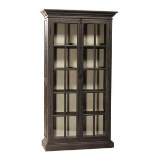 Black Reclaimed Pine Glass Door Cabinet