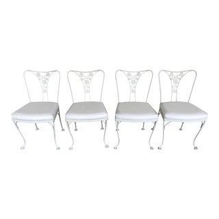 Vintage Woodard Wrought Iron Patio Chairs - Daisy Floral - Set of 4