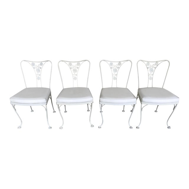 Vintage Woodard Wrought Iron Patio Chairs - Daisy Floral - Set of 4 - Image 1 of 8