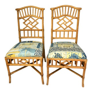 Chippendale Style Rattan Side Chairs - A Pair
