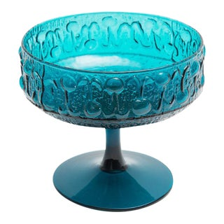 Italian Hand Blown Teal Textured Glass Compote
