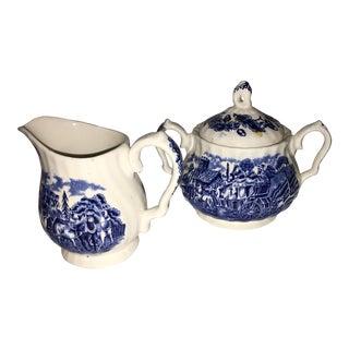 Staffordshire English Creamer & Sugar Bowl - A Pair