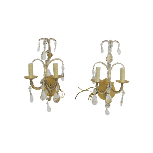 Image of 1970s French Crystal Sconces - A Pair