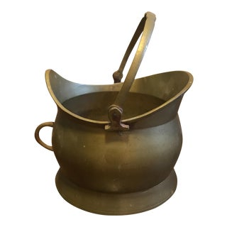 Vintage Solid Brass Coal Fireplace Bucket.