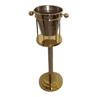 Brass Art Deco Ice Bucket on Stand