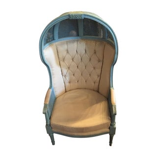 Double Caned French Blue 1950's Porter Chair
