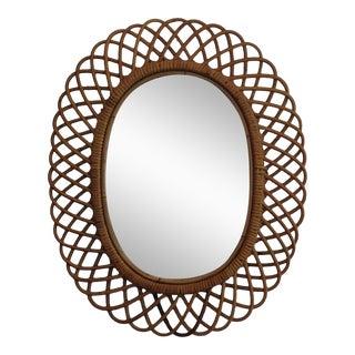 Mid-Century Rattan Albini Mirror